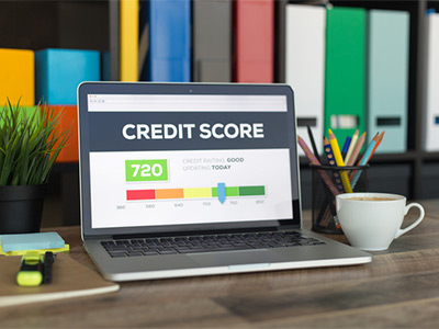 Computer looking at credit score website.