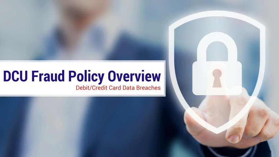DCU Fraud Policy Overview icon with finger pointing on lock inside an outlined shield icon