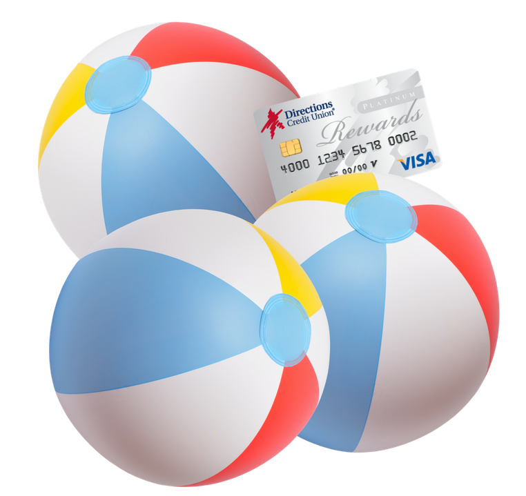 Three beach balls with a superimposed Directions Credit Union Visa Debit Card wedged between them