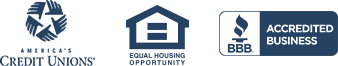 America's Credit Unions Logo, Equal Opportunity Housing Logo, BBB Accredited Business Badge