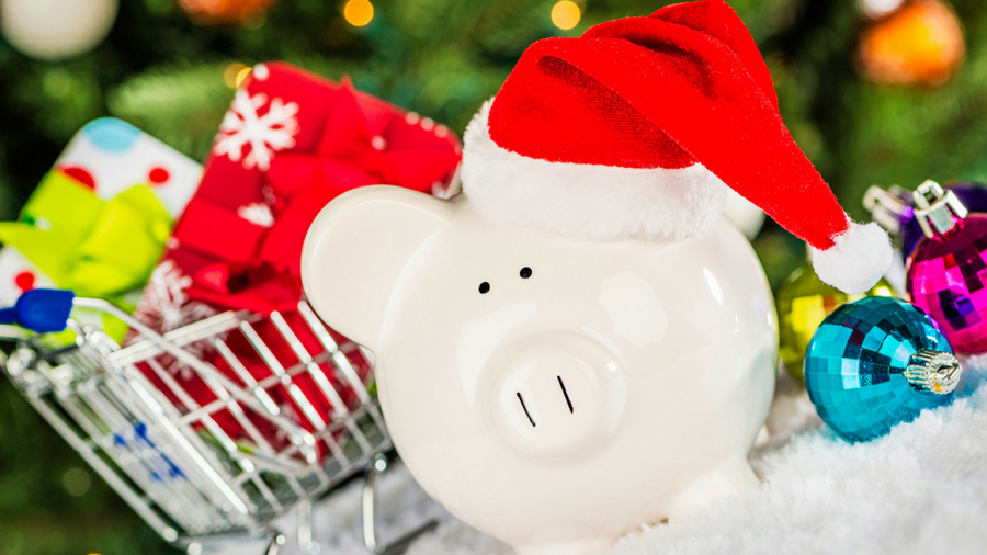 Holiday Budget Piggy Bank With Santa Hat